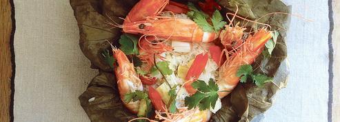 La recette de riz gluant aux asperges blanches et crevettes d'Adeline Grattard