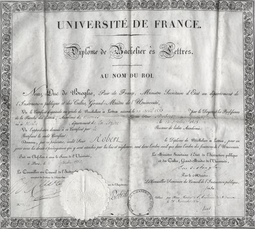 Un diplôme émis en 1830.