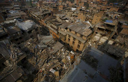 Collapsed houses are pictured after the earthquake in Bhaktapur