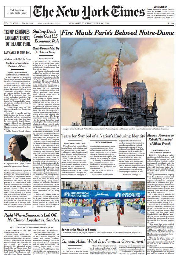 Les images de la cathédrale font la une du prestigieux  <i>New York Times</i>, ce mardi