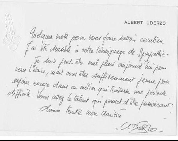 Le petit mot envoyé par Uderzo a redonné du courage à Pierre Tranchand, prêt à ranger ses crayons.