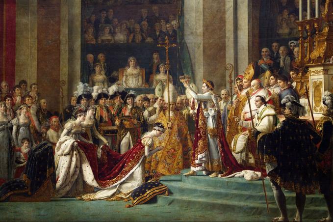 Napoléon est sacré empereur des Français le 2 décembre 1804 à Notre-Dame. David, musée du Louvre.