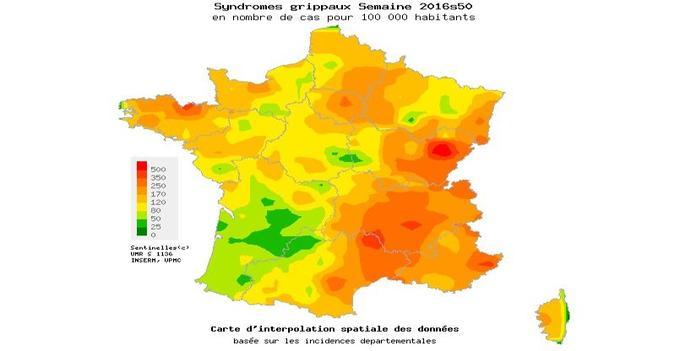 Nombre de cas de syndromes grippaux pour 100.000 habitants. En rouge: 500 cas pour 100.000, en vert clair, 25.