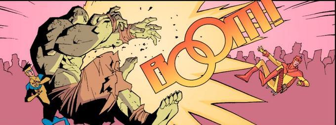 Une scène trop ordinaire dans la vie de Mark Grayson? L'humour et le design léger permettent d'atténuer l'incroyable violence dont peut faire preuve le comics Invincible par moments.