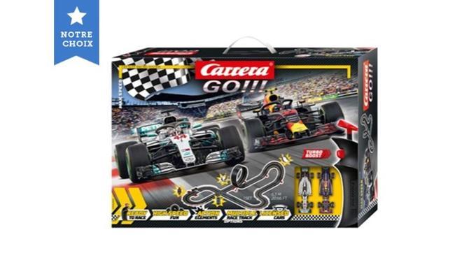 Carrera GO!!! Max Speed – Circuit de course électrique avec voitures miniatures Formule 1 – Jouet pour enfants à partir de 6 ans Source: Amazon