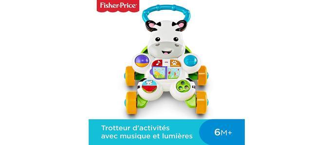 Trotteur bébé Fisher-Price Mon Trotteur Zèbre Parlant