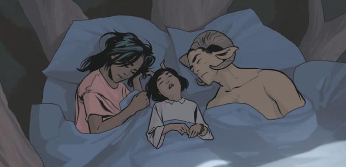 Alana, Marko et leru fille Hazel profitent d'un repos bien mérité.