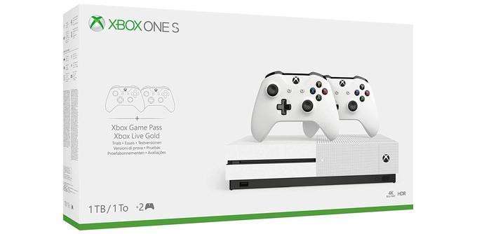 Console de jeu Xbox One S + 2 manettes Xbox