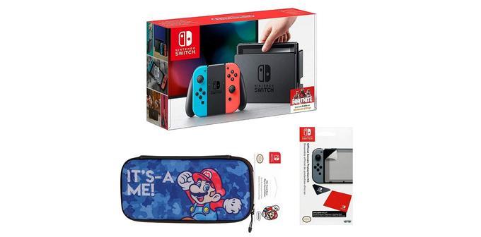 Nintendo avec Joy-Con et pochette Mario