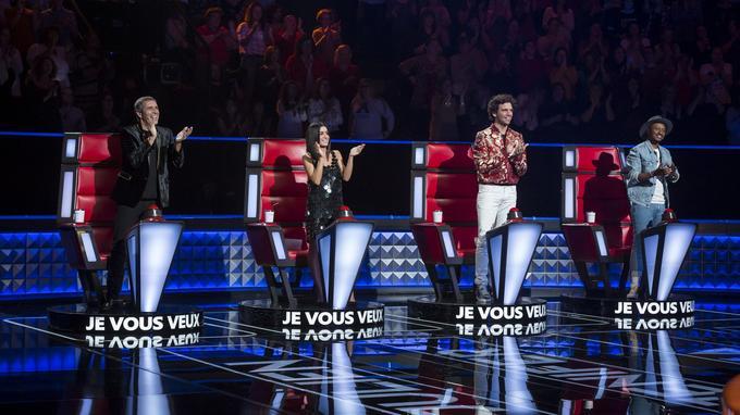 Julien Clerc, Jenifer, Mika et Soprano dans The Voice sur TF1.