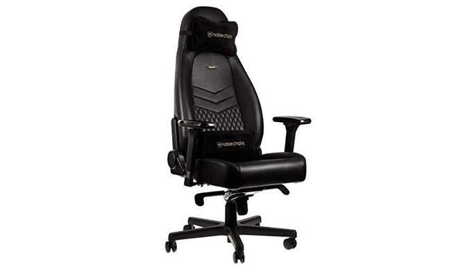 noblechairs ICON Chaise de Gaming - Chaise de Bureau - Cuir Véritable - Design du Siège de Course - Noir  <i>Source: Amazon</i>