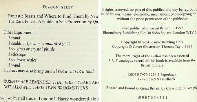 À gauche, on aperçoit la répétition de «1 wand», qui signifie une baguette. À droite, on peut remarquer que l'auteur JK Rowling a signé de son vrai nom, Joanne Rowling.