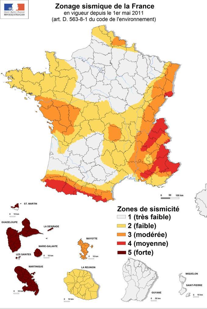 Carte des zones sismiques en France.