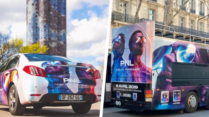 PNL fait la promotion de son album Deux Frères sur les bus et Uber parisiens.