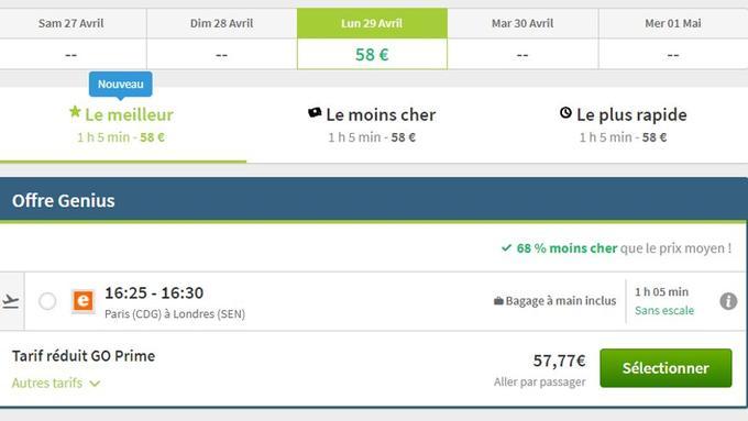 Pour un Paris - Londres, le 29 avril, il est possible de voyager en avion pour 57,77 euros.