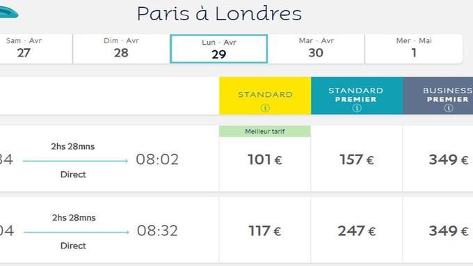 Pour un Paris - Londres, le 29 avril, un trajet en Eurostar coûte plus de 100 euros.