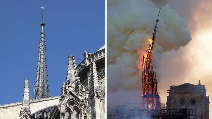 Transformée en torchère, la flèche qui surplombait le transept s'est effondrée peu avant 20 heures.