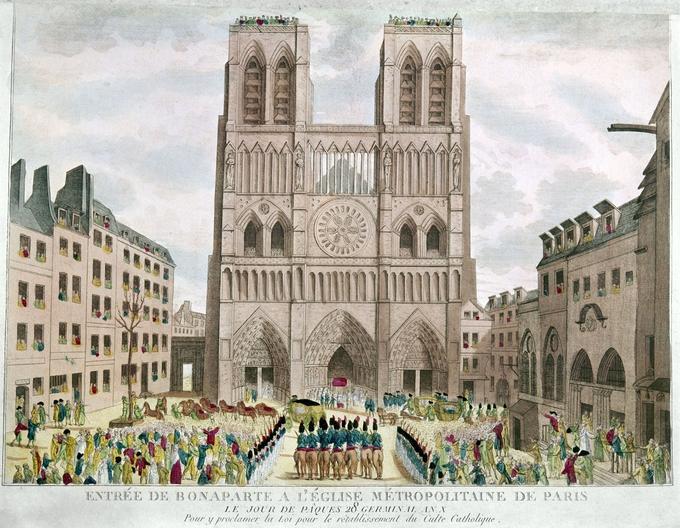 Entree de Napoléon Bonaparte (futur empereur Napoleon 1er) a la cathédrale Notre Dame de Paris pour Paques, en 1802, il proclame de rétablissement de l'eglise catholique romaine en France.