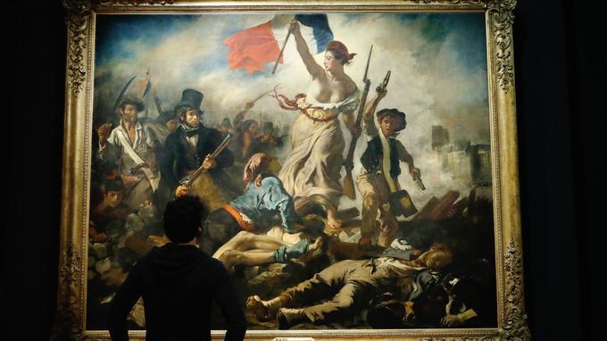 Au fond, sur la droite de la peinture d'Eugène Delacroix, les deux tours de la cathédrale se distinguent.