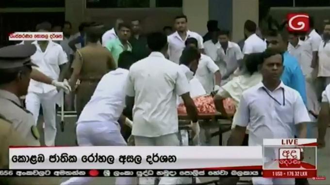 Des centaines de blessés ont été transportés dans les hôpitaux dont celui ici de Colombo la capitale