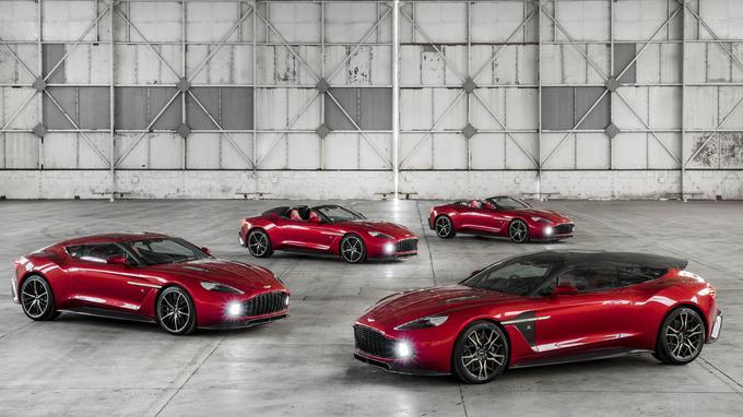Les quatre silhouettes de l'Aston Martin Vanquish Zagato.