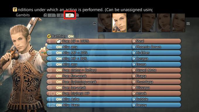 La gestion des gambits permet aux joueurs de conditionner les actions de ses compagnons et de rendre les combats encore plus fluides.