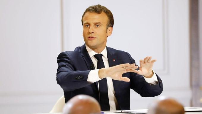 Emmanuel Macron, lors de sa conférence de presse du 25avril.