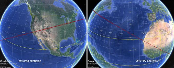 La ligne sur laquelle l'astroïde pourrait s'écraser selon les données préliminaires dévoilées lors de cet exercice.