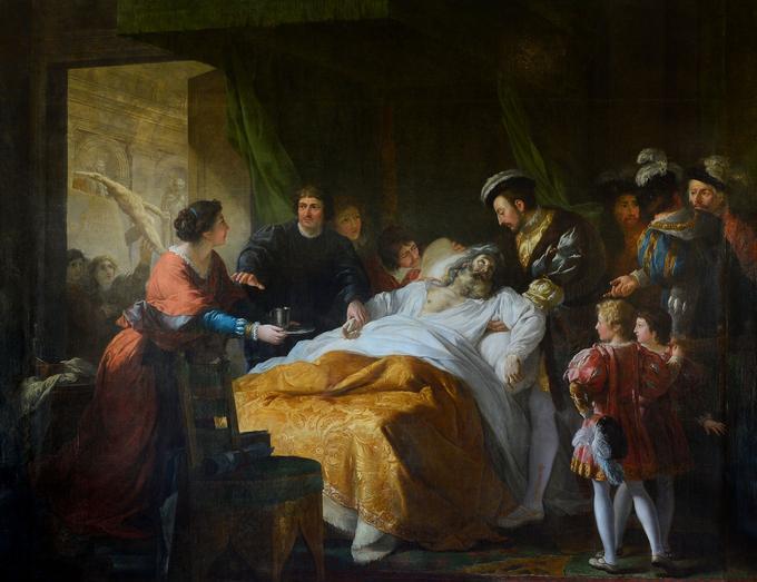 Le tableau «La Mort de Léonard de Vinci», réalisé par François-Guillaume Ménageot.