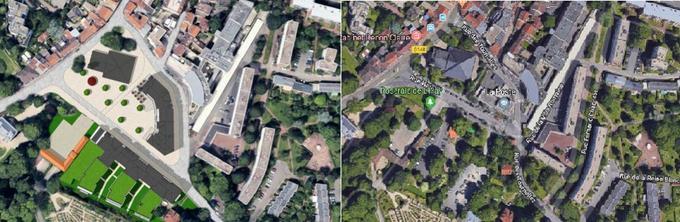À gauche, le projet d'Emerige, avec à droite l'état actuel du centre historique de L'Haÿ-les-Roses. En bas des deux images, on peut voir la Roseraie du Val-de-Marne.