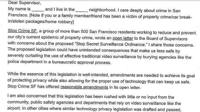 Lettre envoyée par l'Association des officiers de police de San Francisco à ses partisans pour contrer l'interdiction du conseil municipal / Gizmodo