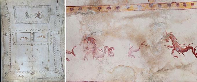 Comparaison entre une ancienne fresque, à gauche, et les nouvelles mises au jour dans la salle du sphynx, à droite.
