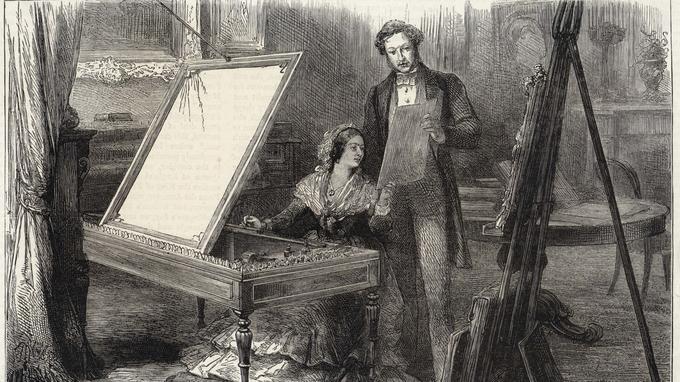 Gravure figurant la reine Victoria d'Angleterre et le prince consort Albert (Albert de Saxe-Cobourg-et-Gotha) vers 1840.