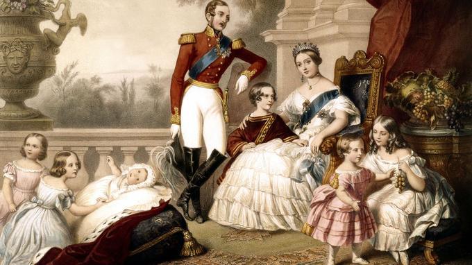 Sur cette gravure d'après un tableau de Franz Xaver Winterhalter: la reine Victoria d'Angleterre et le prince consort Albert avec leurs enfants en 1848: la princesse Louise (bébé) avec Alice et Alfred, le prince Edouard (futur Édouard VII entre ses parents).