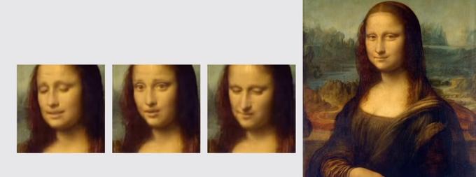 Capture d'écran des résultats des équipes de Samsung sur l'animation du visage de Mona Lisa.