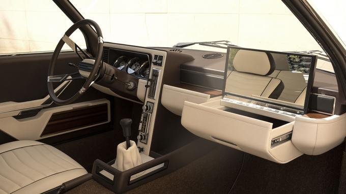 L'habitacle est identique à celui de la voiture de 1970. On retrouve ainsi la radio installée verticalement.