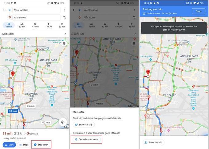 Les boutons «stay safer» et «get off-route alerts» sur la version indienne de Google Maps.