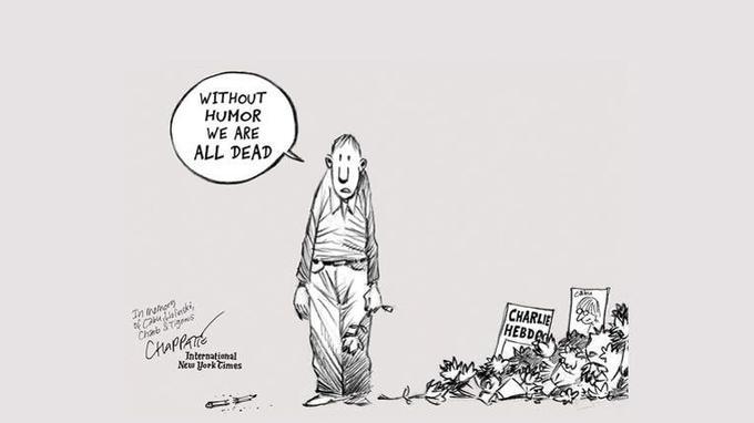 «Sans humour, nous sommes tous morts». Le dessinateur Patrick Chappatte avait réalisé le 8 janvier 2015 le dessin dans les pages du quotidien américain après les attentats contre la rédaction de Charlie Hebdo.