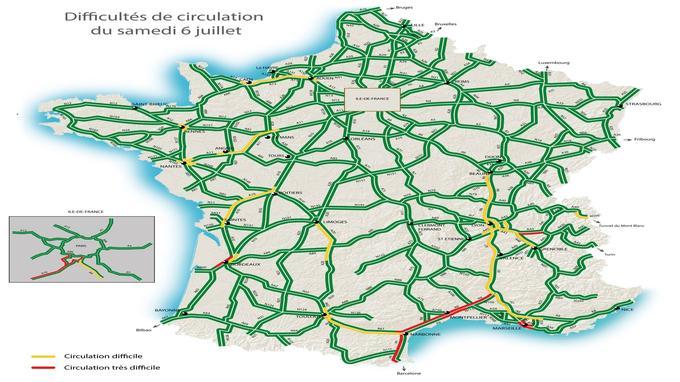 Selon la carte de Bison futé, la circulation classée orange au niveau national et rouge en Île-de-France, ce samedi