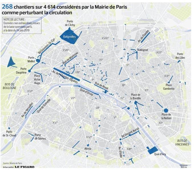 La carte des chantiers considérés par la mairie de Paris comme perturbant la circulation, au 14 juin dernier.
