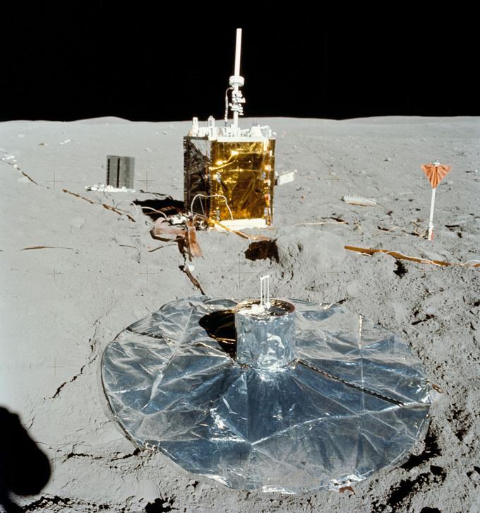 Les instruments laissés sur place par les astronautes de la mission Apollo 16.