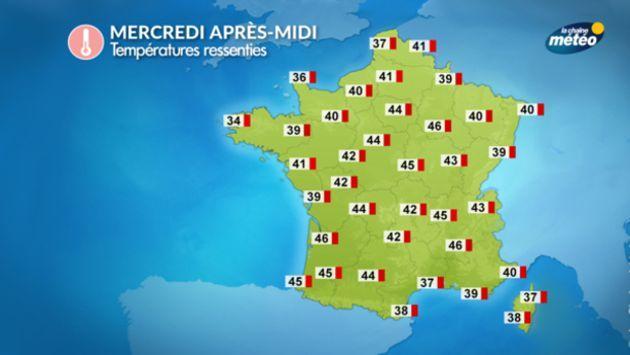 Les températures ressenties mercredi après-midi iront au-delà des 40°C, selon La Chaîne Météo.