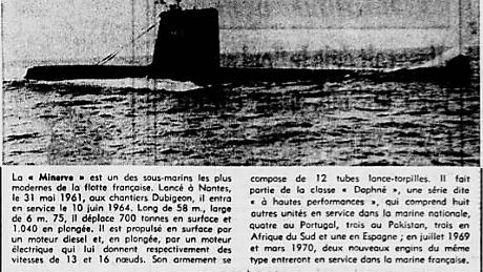 Le sous-marin «La Minerve» décrit dans «Le Figaro» du 29 janvier 1968.