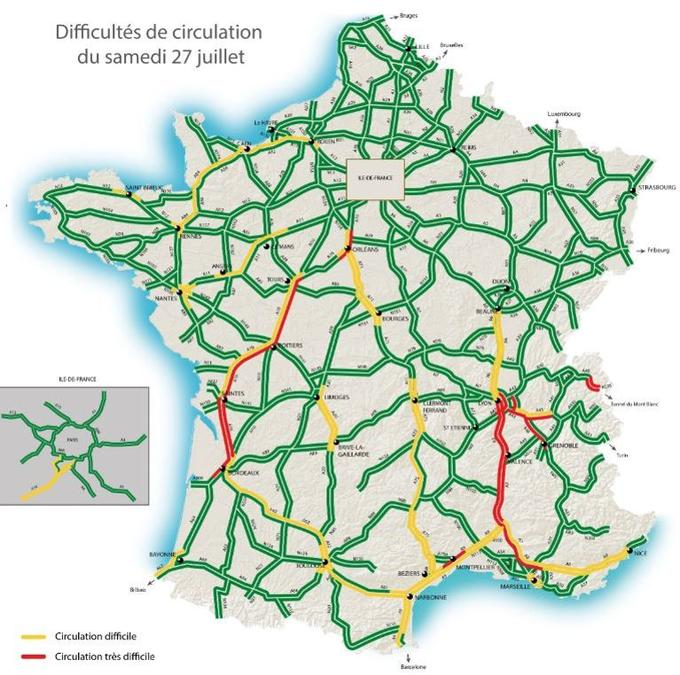 Les difficultés de circulation du samedi 27 juillet