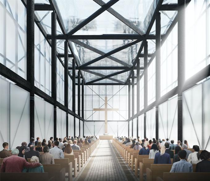 Des matériaux transparents comme le polycarbonate translucide et des coussins gonflables en éthylène tétrafluoroéthylène utilisés pour la toiture devait faire de cette cathédrale éphémère un lieu lumineux.