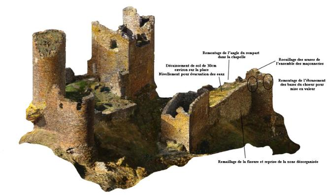 Propositions d'intervention sur la chapelle, la place et la tour ouest.