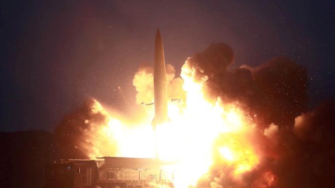 Test d'un missile nord-coréen, révélé le 7 août par l'agence KCNA.