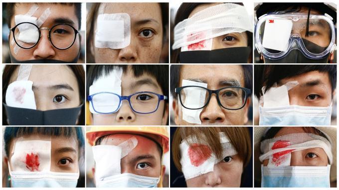 De nombreux manifestants ont porté des bandeaux pour dénoncer les violences policières à Hongkong.