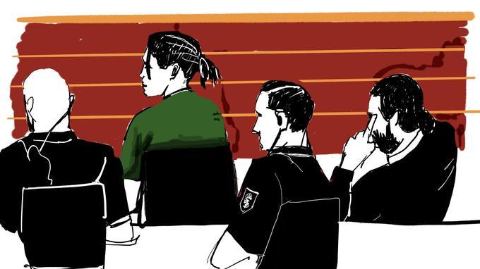 Croquis représentant A$AP Rocky durant son audience au tribunal de Stockholm.
