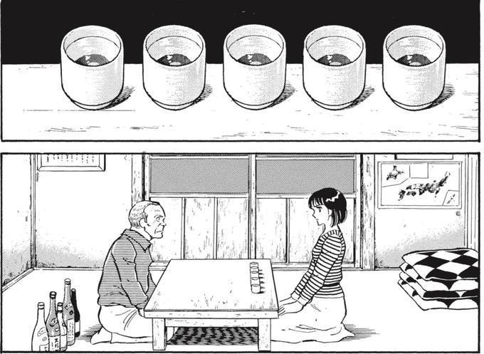 Natsuko goute des sakés à l'aveugle devant son grand-père.